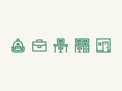General Provision Icon Set coworking space coworking office desk briefcase backpack line art iconography icons set icons
