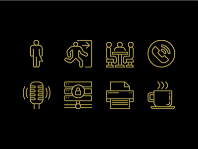 General Provision Wayfinding Icons coworking coffee printer server podcast phone conference meeting restroom bathroom signage wayfinding illustration illustrator mono line line art icon iconography icons set icons