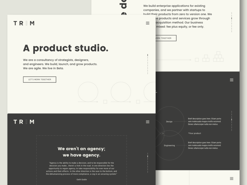 T R I M Site UI minimal typography design product agile website site marketing site