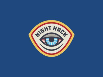 Night Hack Badge illustration branding engineer developer typography eyeball eye space coworking hackathon hack logo badge