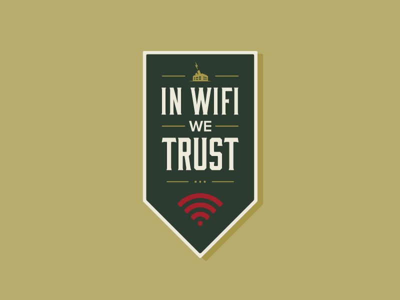 In Wifi We Trust typography flag space coworking badge banner wifi