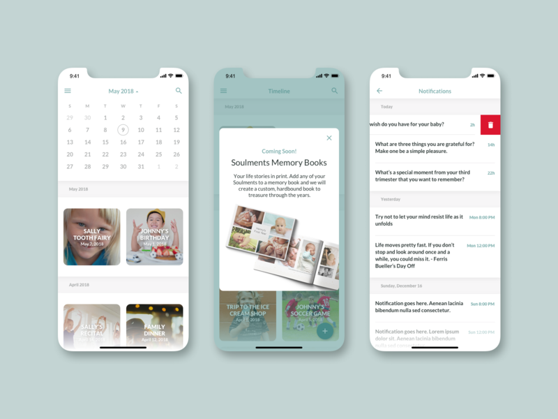 Soulments UI notifications modal calendar application design product features ux interface native iphone ios ui app