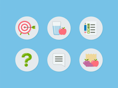 Health Icons grapes apple list archery faq chat goals illustration food groceries nutrition health diet iconography