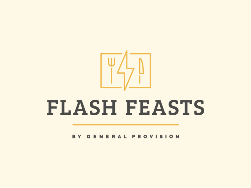 Flash Feasts Logo badge mark font lightening bolt lightening knife fork culinary dining restaurant coworking identity brand icons iconography design typography branding logo