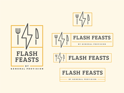 Flash Feasts Lockups bolt lightening fork knife food dining restaraunt badge icons iconography typogaphy font lockups lockup identity brand branding logo