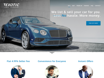Exotic Car Trader Marketing Site brochure landing page marketing bentley marketplace car exotic design ui app