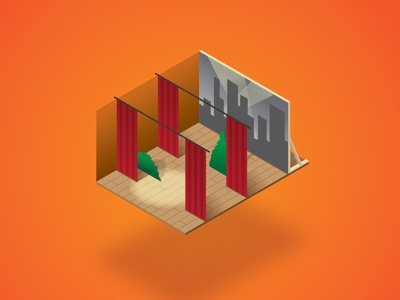 Isometric Stage acting dimension 3d spotlight stage model scale isometric illustration