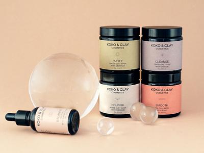 koko&clay packaging labels cosmetics packaging branding