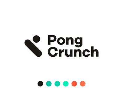 Pong Crunch logo branding branding design brandidentity ball racket table tennis pingpong logodesign logotype logo design logo