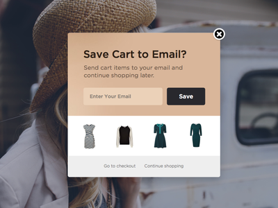 Site Abandonment Pop-up sketch fashion cart email merchant nosto shopping store online store