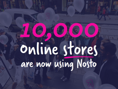 10k prestashop magento shopify store ecommerce personalization magenta pink branding milestone nosto typography