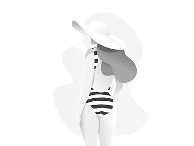 Lady on Beach white grey hat beach woman female designer illustration affinity