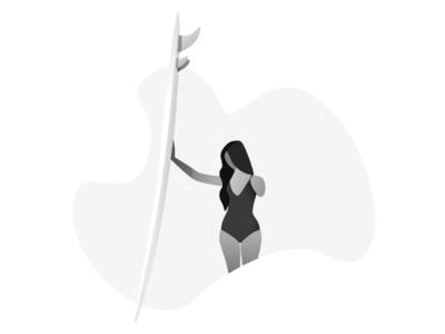 Surfer surfing woman illustration white helsinki grey female designer beach affinity