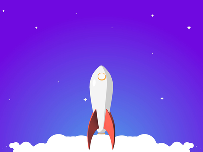 Rocket animation smoke 2d c4d star rocket cloud ux gif ui interaction animation