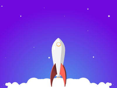 Rocket animation smoke 2d c4d star rocket cloud ux gif ui interaction animation
