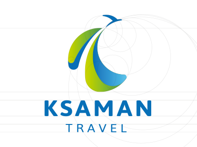 Travel agency cloud air aircraft forest geen golden ratio grid знак mark logo agency travel
