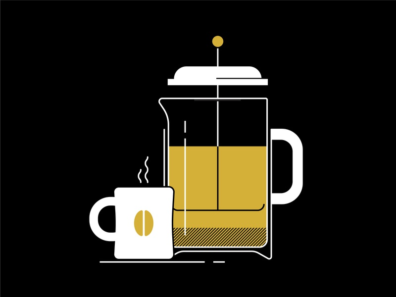 French Press mugs coffee cup gold vector illustration vector illustration mug coffee mug french press coffee french press coffee