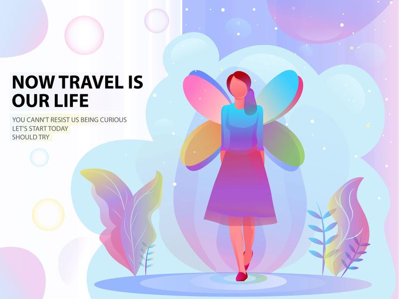 Girl Illustration web girl landing page branding design nature illustration gradient color