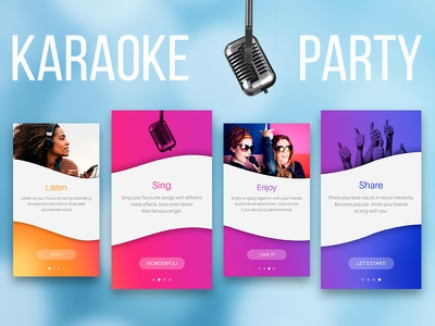 Karaoke Party app features overview iphone bright colors mobile app karaoke user experience ux ui first time experience