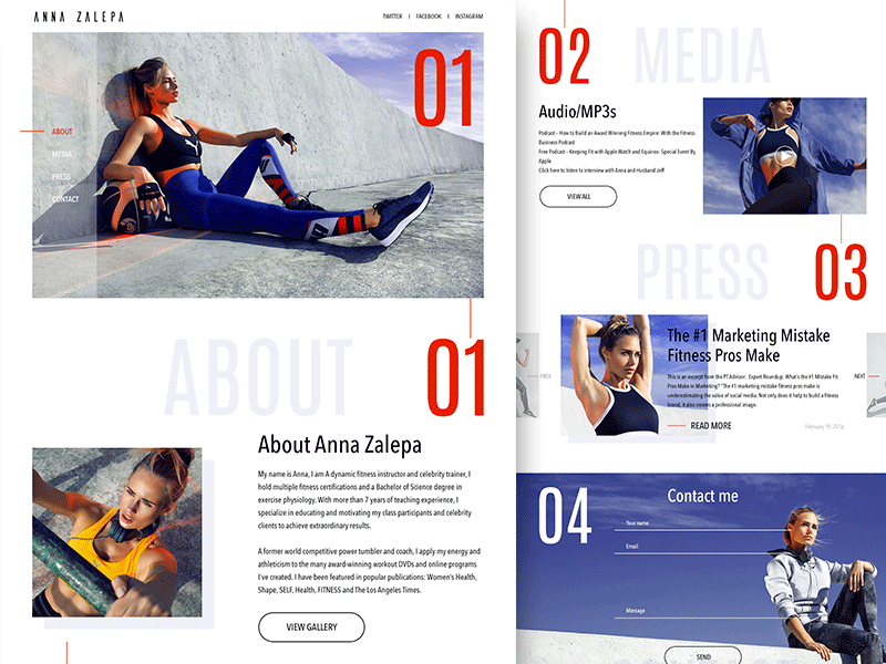 Trainers Website health personal fitness sport modern simple website trainer
