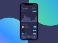 iPhone X design dark - Portfolio Screen for Cryptocurrency app