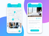 iPhone X design - map and hotel description screens