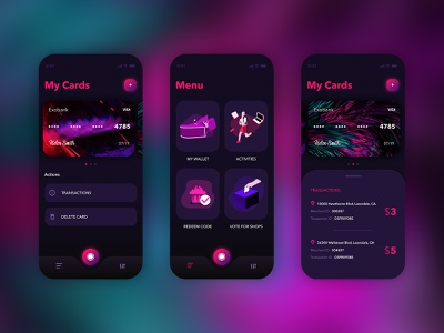 Cards application mobile app mobile dark app dark ui abstract blurred background blur gradient purple gradient menu design menu card menubar menu card design card dailyui ux challenge ui