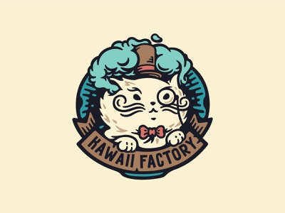Kawaii Factory cute mustache vintage smoke hat illustration label factory kawaii cat