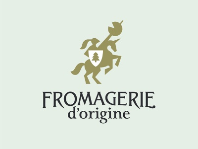 Fromagerie arms geometry coat of arms logo animal spruce knight shield horse cheese
