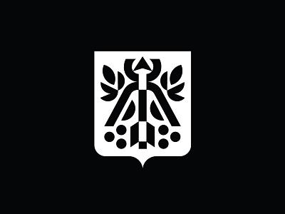 Coat of arms Izhevsk branding monoline minimalism logo shield city plant arrow coat of arms arms