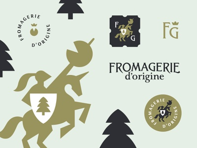 Fromagerie spruce shield logo knight horse geometry coat of arms cheese arms animal