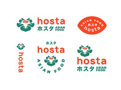Hosta leaf plant label logo food flower wok sushi asia delivery
