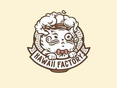 Kawaii Factory engraving vintage smoke mustache illustration label hat factory cute cat