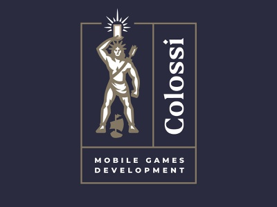Colossi Games warrior mascot gym greece development body human monument ship rays branding label logo mobile man games statue rome colossus