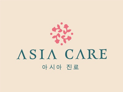 Asia care organic herbal branding brand logo spring nature boutique plant corea flower round beauty care cosmetic asia