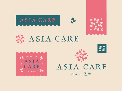 Asia care badge label spring round plant japanese organic nature monogram logo herbal flower cosmetic corea care branding brand boutique beauty asia