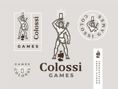 Colossi Games branding warrior statue ship rome monument mobile mascot man print logo label human gym greece game body colossus