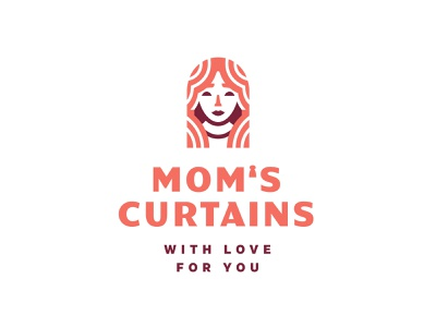Mom's Curtains home arch love mother hair face mom girl woman monoline geometry minimalism branding logo curtain
