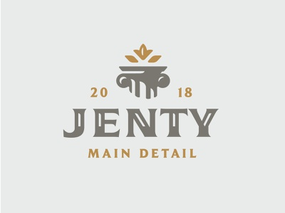 Jenty leaves history branding logo gold interior gypsum detail greece rome monument column