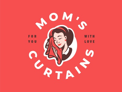 Mom's Curtains pin-up pinup lips textile cloth red label mom mascot logo home hair mother woman girl face curtain love branding arch