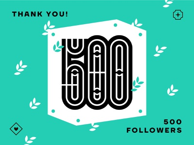 500 followers print 5 lettering box monoline geometry numeral number thank you thanks follower 500