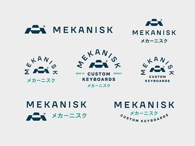 Mekanisk branding technology tech square monogram minimal mechanic label badge logo keyboard key japanese industrial geometry norway custom click button