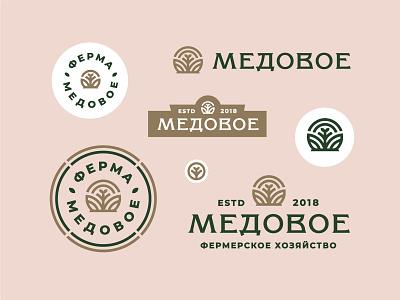 Медовое (Honey Farm House) label badge branding logo eco monoline round green meadow lettering plant leaf nature house farm honey