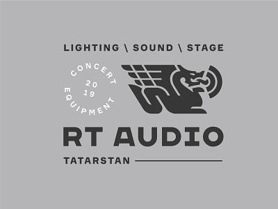 RT Audio branding badge label logo stage lightning light wave sound concert audio tech fire wings dragon