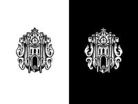 Cuckoo clock branding badge illustration logo monochrome building ledder door engraving event time watch clock cuckoo