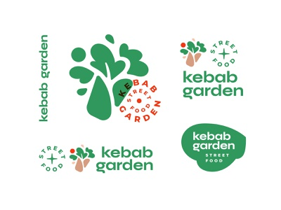 Kebab garden doner label food delivery leaf identity logo garden kebab eco green street food