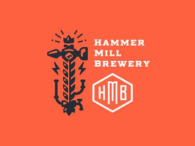 Hammer Mill Brewery crown beer logotype logo pipe monogram lightning wheat hop brewery mill hammer