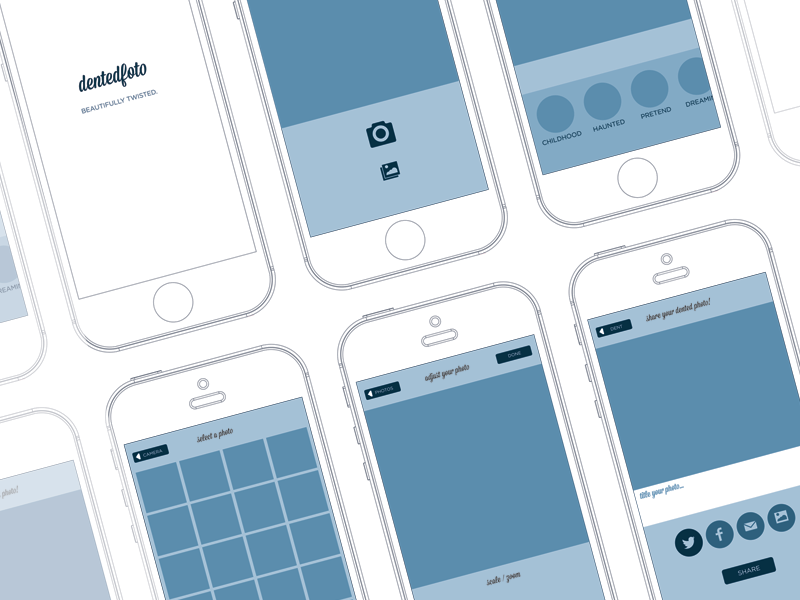 DentedFoto Wireframe app iphone ui graphic design interface mobile photo blue layout touch wireframes wireframe