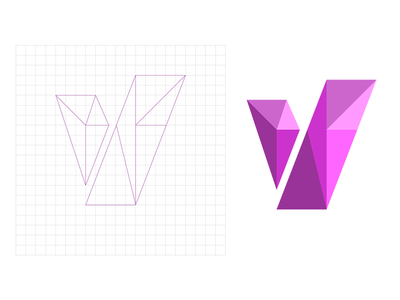 V Geo 2 vector flat concept logo clean character grid design purple identity branding shapes letters