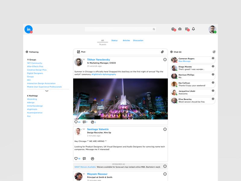 Linkedin Home mobile visual design prototypes user experience linkedin web design website design ux ui